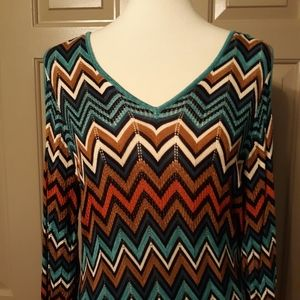 Cato ladies plus size Chevron cold shoulder dress.